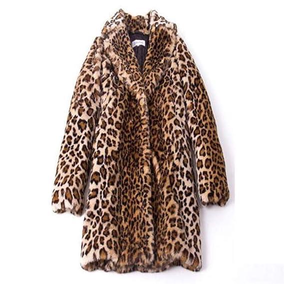 97aebfdd5f7c Womens Jacke Leopard Print Kunstpelz Winter Revers Wollmantel Trench  Langarm Mantel Outwear Damen Slim Parka Trenchcoat