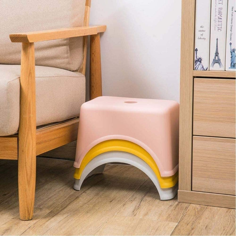 generio Thicken Plastic Square Stool Children'S Low Stool Living Room Small Bench Home Adult Change Shoes Stool Kids Gift Deep Blue
