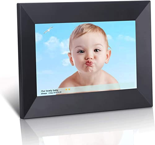 Dhwazz 8 Inch WiFi Digital Photo Frame, IPS Electronic Digital Frame with LCD Touch Screen, 16GB Internal Storage, Wall-Mountable, Display and Share Photos Instantly via Mobile APP