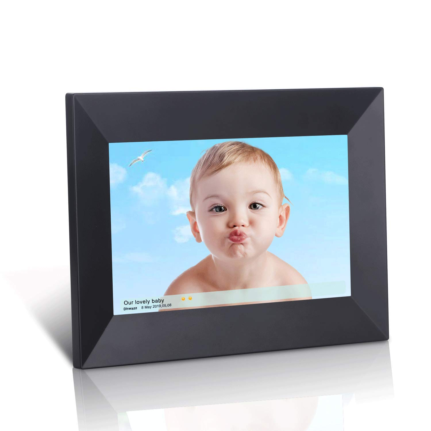 Dhwazz 8 Inch WiFi Digital Photo Frame, IPS Electronic Picture Frame with LCD Touch Screen, 8GB Internal Storage, Wall-Mountable, Display and Share Photos Instantly via Mobile APP
