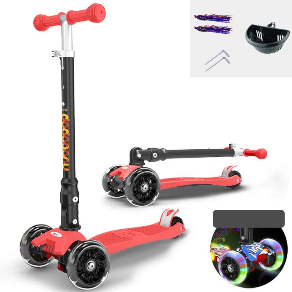 F Scooter Mit Einstellbarer Höhe,4-Rad Scooter,Extrabreite Deck Mit Beständiger Leistung Für Kinder 3-12 Jahre Alte Schwarze