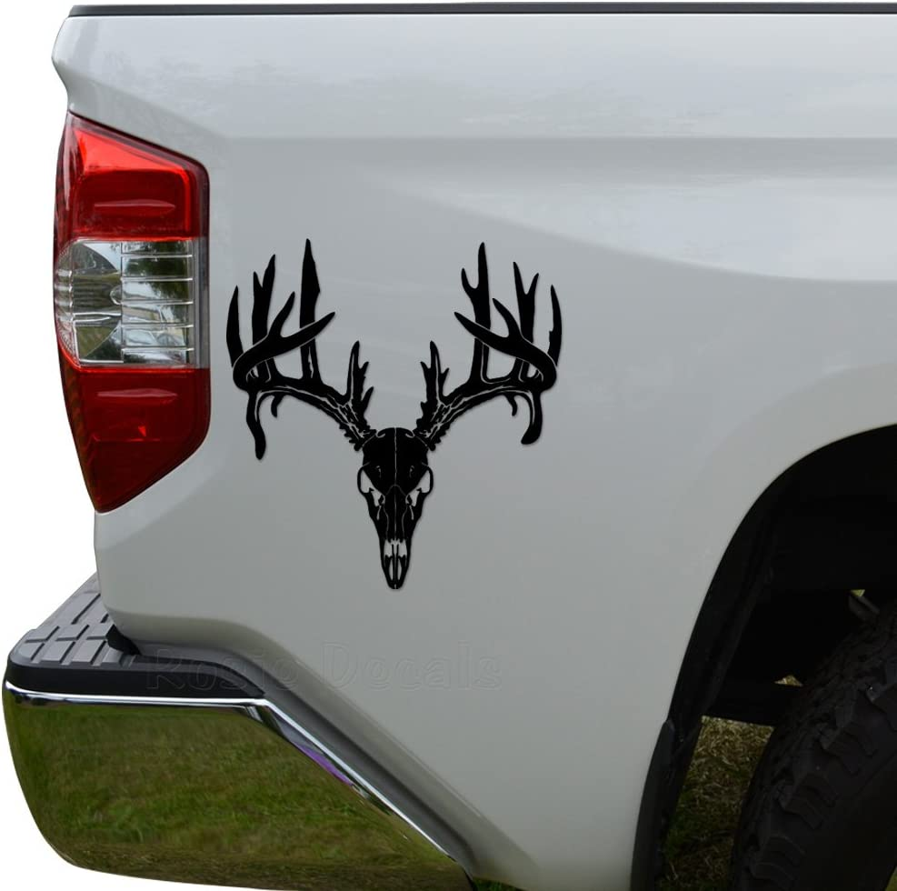 Rosie Decals Deer Buck Antlers Skull Hunting Die Cut Vinyl Decal Sticker For Car Truck Motorcycle Window Bumper Wall Decor Size- [6 inch/15 cm] Tall Color- Matte Black