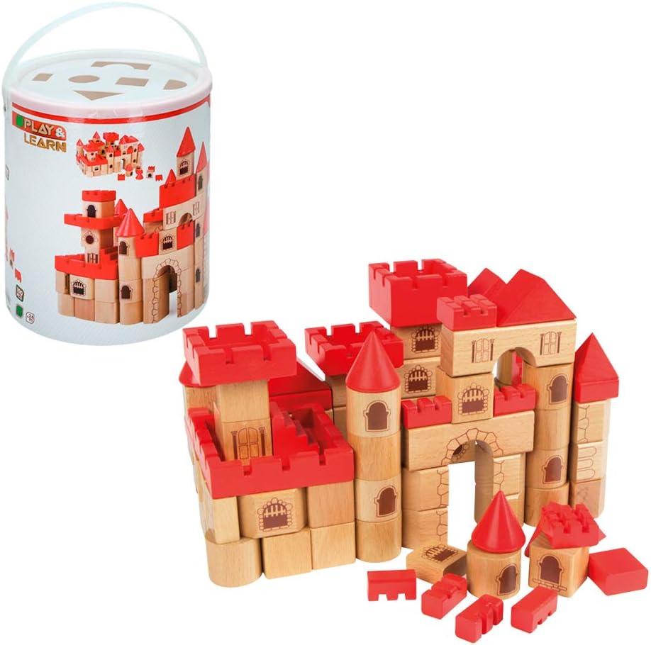 WOOMAX - Castillo medieval en madera 100 piezas (ColorBaby 46210)