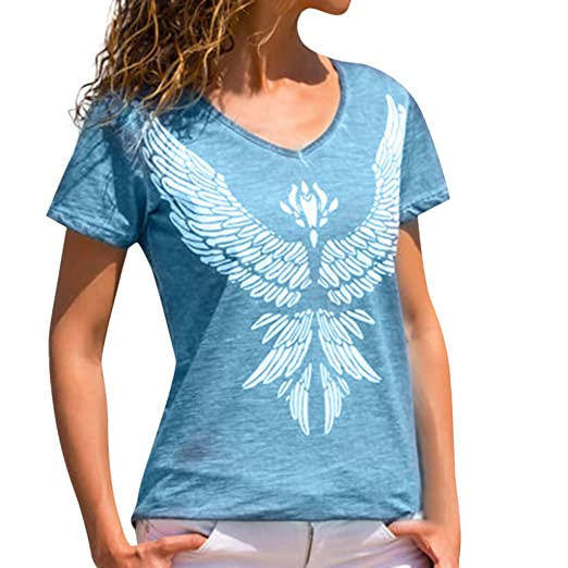 9933128f299 iFOMO 2019 Fashion Casual V-Neck Phoenix Printed T-Shirt Short Sleeve Tees  for