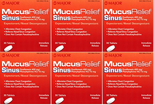 - Mucus Relief PE Guaifenesin 400 mg Expectorant and Phenylephrine 10 mg Nasal Decongestant Generic for Mucinex Sinus Tablets 30 ea. Per Bottle Pack of 6 Total 180 Tablets