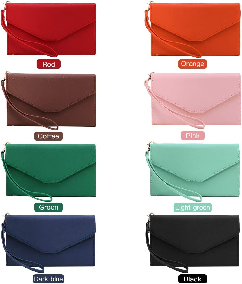 FESJOY Multi Card Organizer Wallet RFID Blocking Travel Passport Holder Folding Handbag Women Slim Wristlet