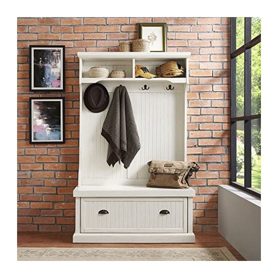 Crosley Furniture Seaside Hall Tree - Distressed White - Classic design featuring beadboard panels Solid hardwood and wood veneer construction Four double hooks for hanging accessories - hall-trees, entryway-furniture-decor, entryway-laundry-room - 61Z1QhUxf6L. SS570  -