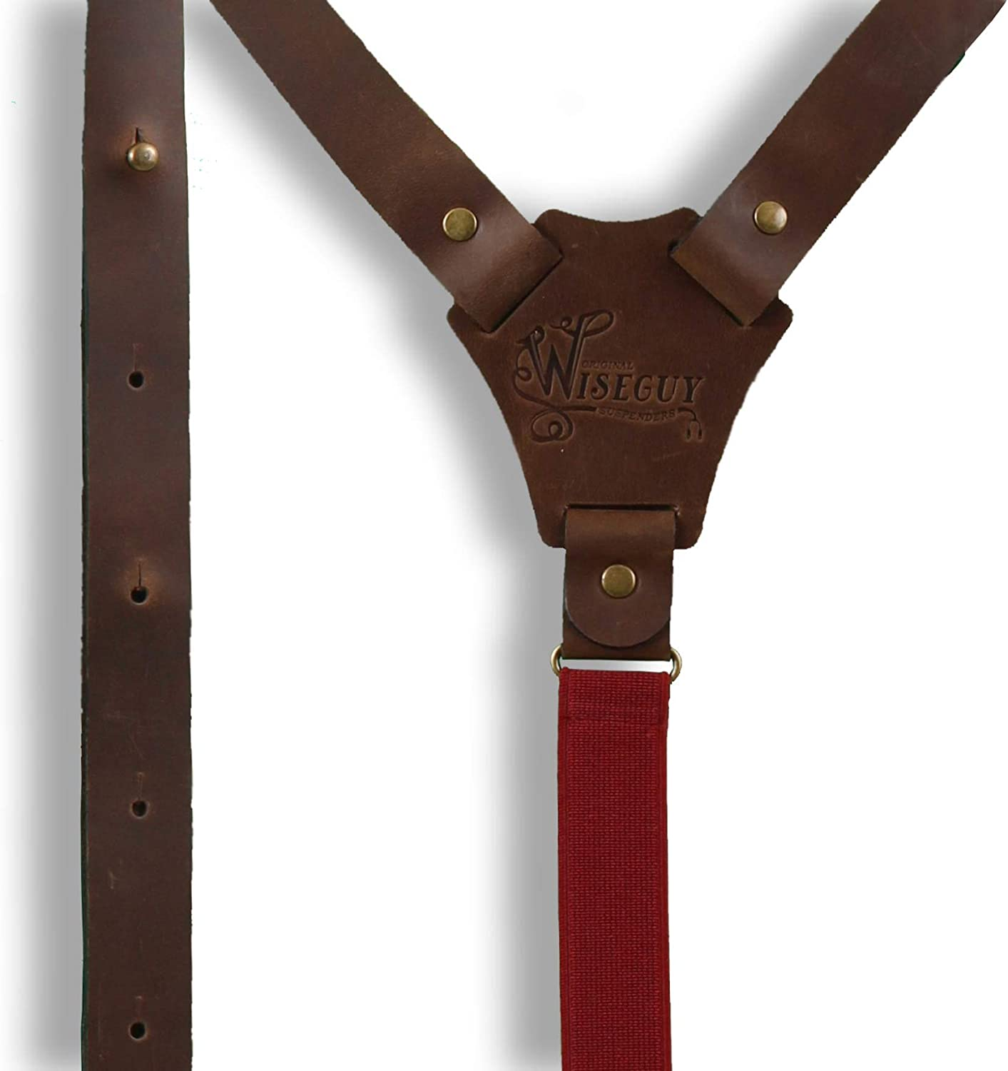 Wiseguy Flex Brown Leather with Elastic Burgundy Y Back strap 1 inch wide and adjustable Elastic Back Strap Suspenders