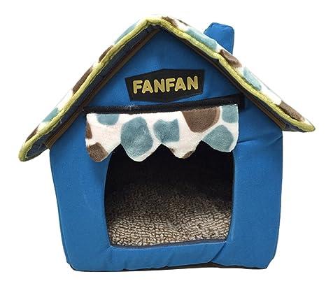Icegrey Casa para Perros y Gatos Acolchada Plegable Caseta Cama para Mascotas 37x32x38cm Azul