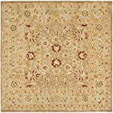 Safavieh Anatolia Collection AN522B Handmade Traditional Oriental Tan and Ivory Wool Square Area Rug (6′ Square)