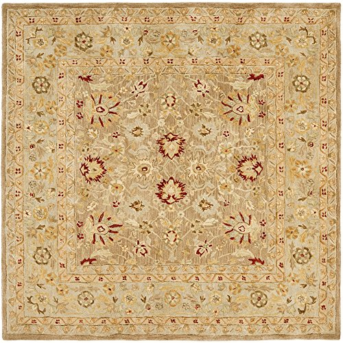 Safavieh Anatolia Collection AN522B Handmade Traditional Oriental Tan and Ivory Wool Square Area Rug (8′ Square)