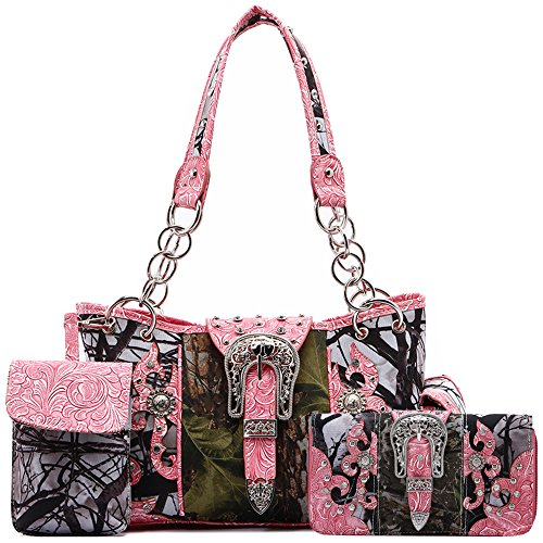 Western Style Camouflage Concealed Carry Purse Buckle Country Studs Women Handbag Shoulder Bag Wallet Set (Fuchsia Set)