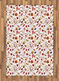Lunarable BBQ Party Area Rug, Grilling Themed Food Elements Hamburger Hotdog Steak and Sausage Pattern Cooking, Flat Woven Accent Rug for Living Room Bedroom Dining Room, 4 x 5.7 FT, Multicolor