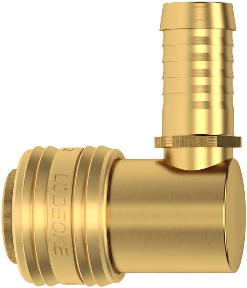 Druckluftkupplung Dose Messing NW 7,2 mit 90 Grad Winkel und Schlaucht/ülle 13mm