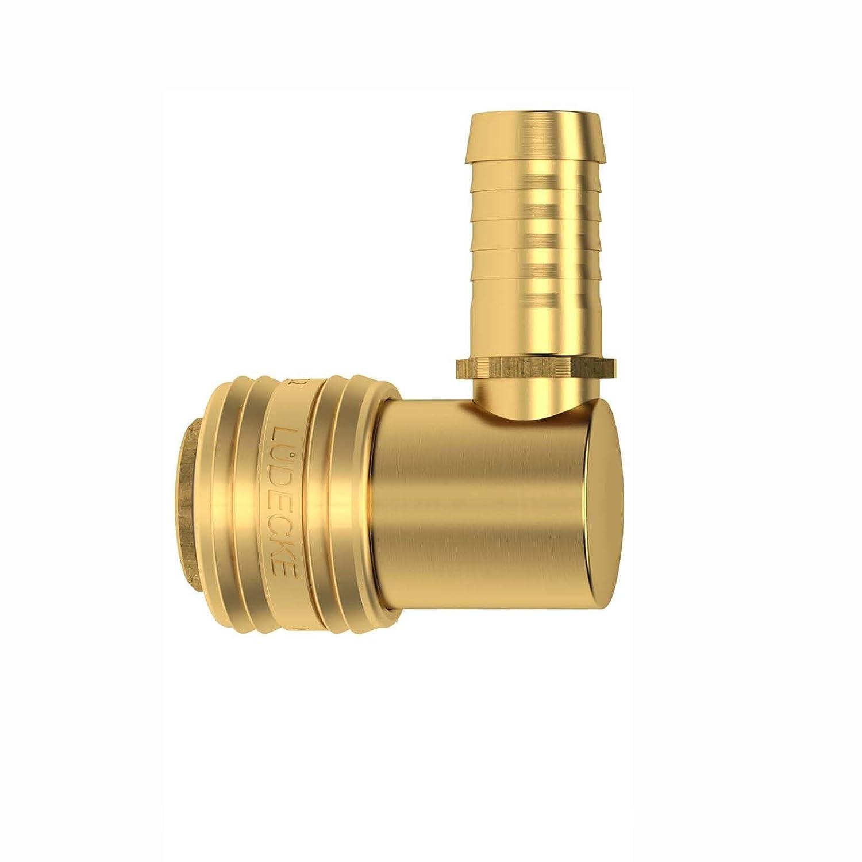 Druckluftkupplung Dose Messing NW 7,2 mit 90 Grad Winkel und Schlaucht/ülle 6mm