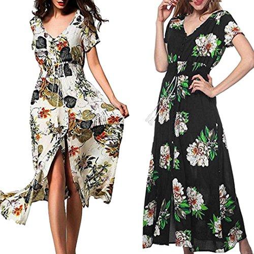 Winwintom Mujeres Moda Verano Encanto Largo Bohemia Vestido De Manga Corta V-Cuello De ImpresióN Floral Beach Party Vestido Casual Negro