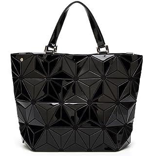 Haoling Femmes sac perle diamant treillis décontracté fourre-tout géométrie sac à bandoulière concepteur hologramme black
