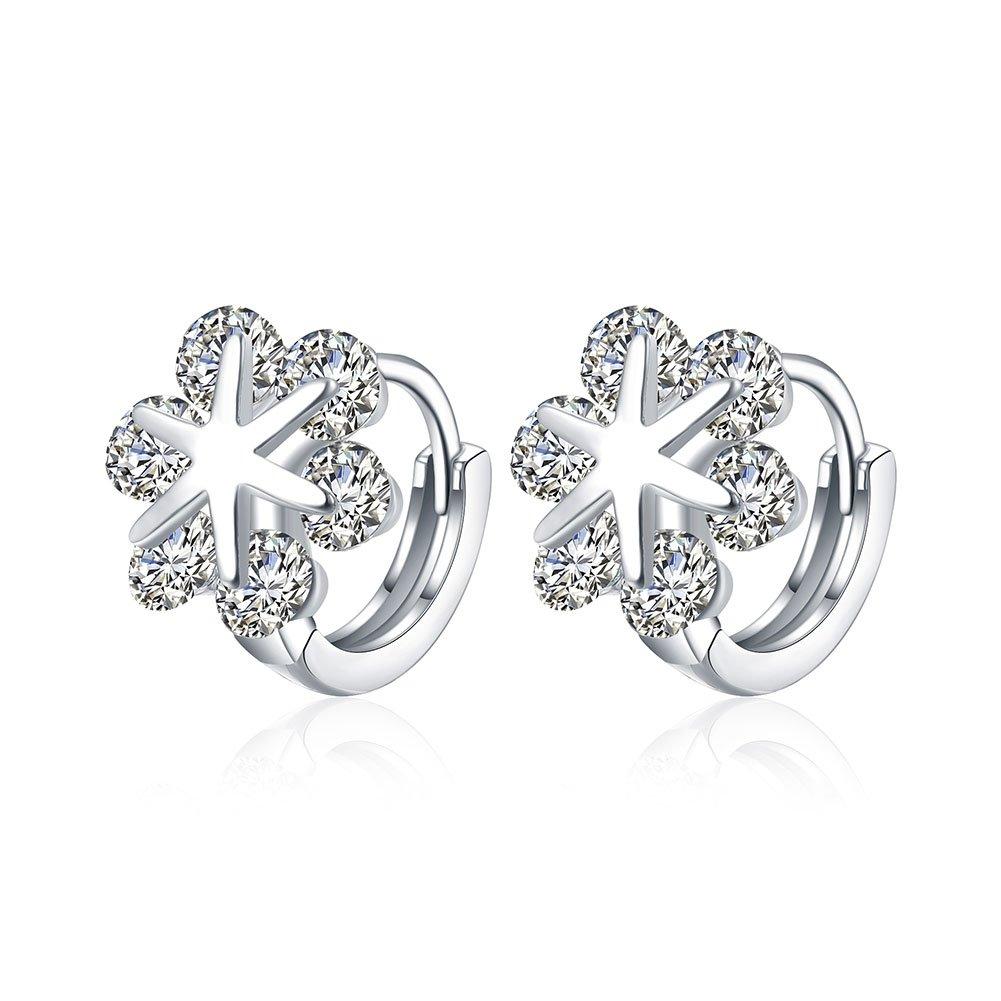 Lady Snowflake Silver Plated Leverback Huggie Hoop Earrings Jewelry DAYONE JEWELRY LTD 0930S3O4DJQ