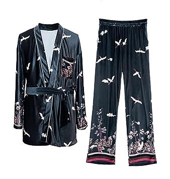 RZ.hs mujeres o hombres invierno conjunto de pijamas kimono bata de baño suave ropa