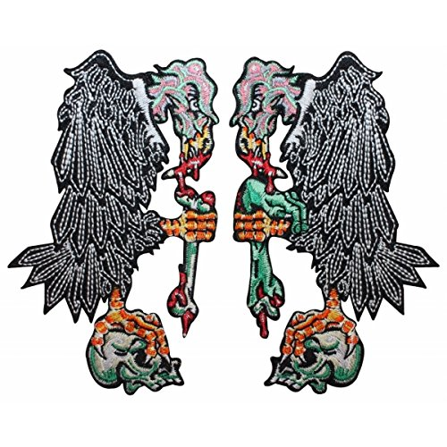 (Pair of Vultures Birds Human Remains Skull Kreepsville Embroidered Iron On Patch)