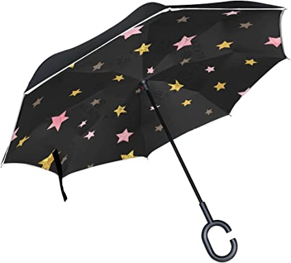 Reverse Umbrella Double Layer Inverted Umbrellas For Car Rain Outdoor With C-Shaped Handle Texture Blue Plaster Kaleidoscope Customized