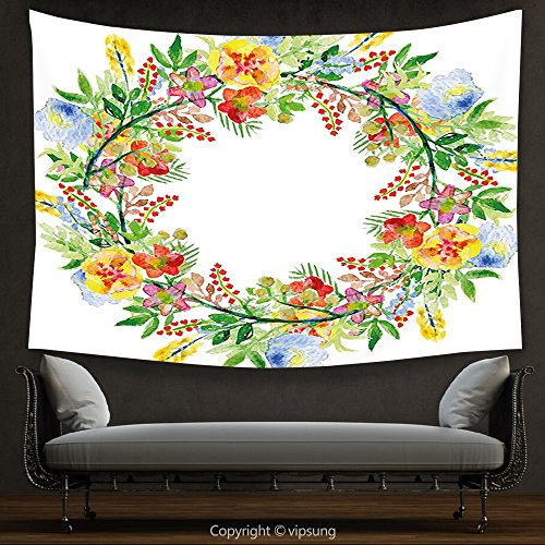 House Decor Tapestry Flowers Decor Wreath with Branches Flowers and Leaves Save the Date Card Invitation Print Multicolored Wall Hanging for Bedroom Living Room (Print Off Halloween Invitations)