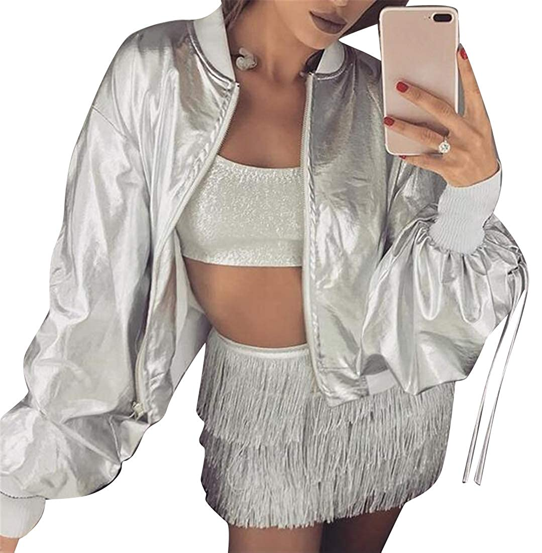 BOBOYU Womens Glossy Loose Fit PU Leather Drawstring Zip Up Club Party Jacket Coat Outerwear