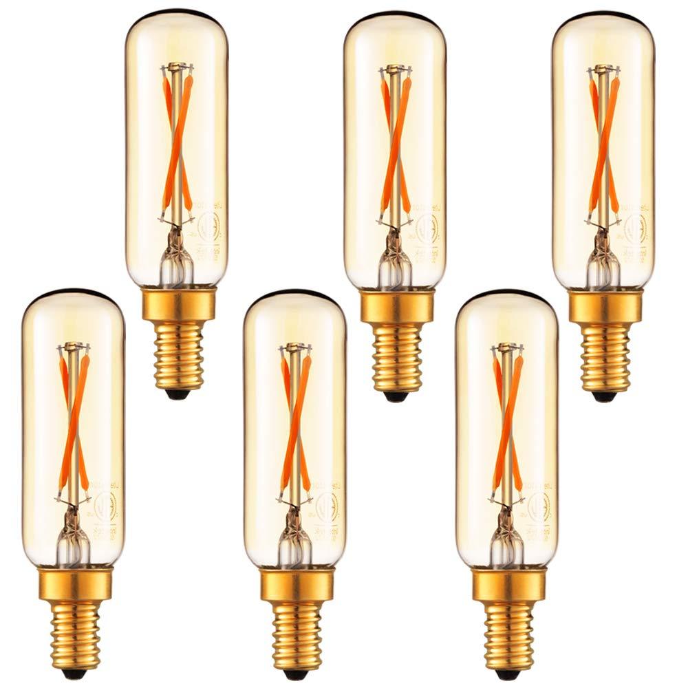 LiteHistory Dimmable T6 led bulb 25W Candelabra led 2200K Amber 120lm 2W e12 T25 led bulb 6Pack