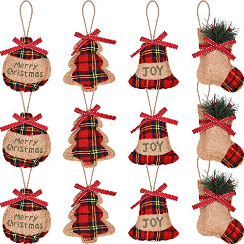 Jetec 12 Pieces Christmas Burlap Tree Ornaments Hanging Decorations, Includes Christmas Stocking Tree Ball Bell Shapes Christmas Party Decor, 4 Styles