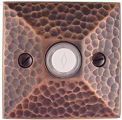 Emtek 2452US15 Satin Nickel Arts and Crafts Lighted Doorbell Button with Hammered Rosette