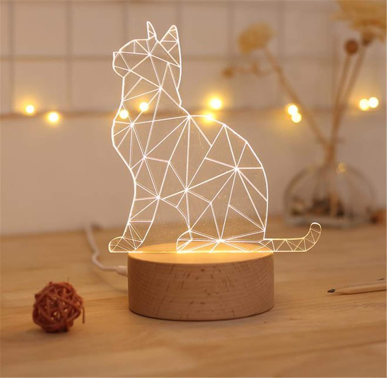 Noche Base Kitty Modelo Luces De Sólida Acrílico La Madera UzSpGqMV