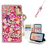 EVTECH ZTE MAX XL Case with Lanyard Neck Strap, [Stand Feature] Butterfly Crystal Wallet Case Premium [Bling Luxury] Leather Flip Cover [Card Slots] For ZTE MAX XL N9560/ZTE ZMax PRO 2