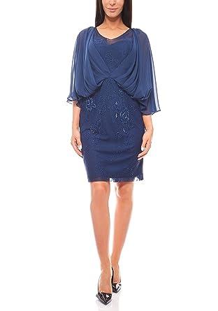 Ashley Brooke Robe de Cocktail au Genou Robe en Mousseline de Soie Femmes  Bleu, Taille 98959f83c8c9