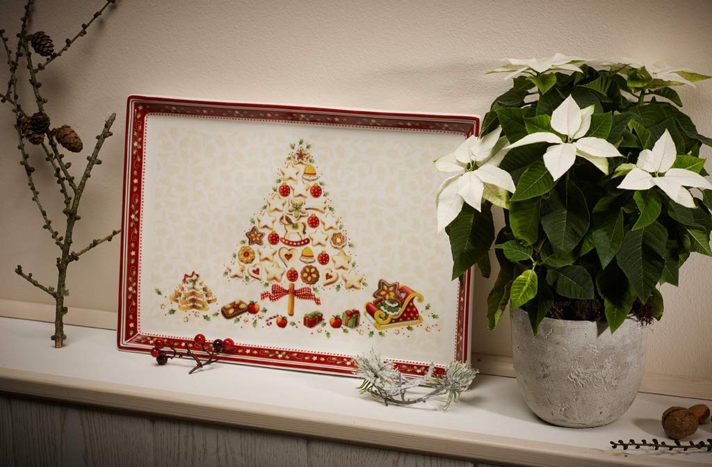 Villeroy & Boch Winter Bakery Delight Plato para repostería Rectangular Grande, Porcelana Premium, Blanco/Rojo/Beige: Amazon.es: Hogar