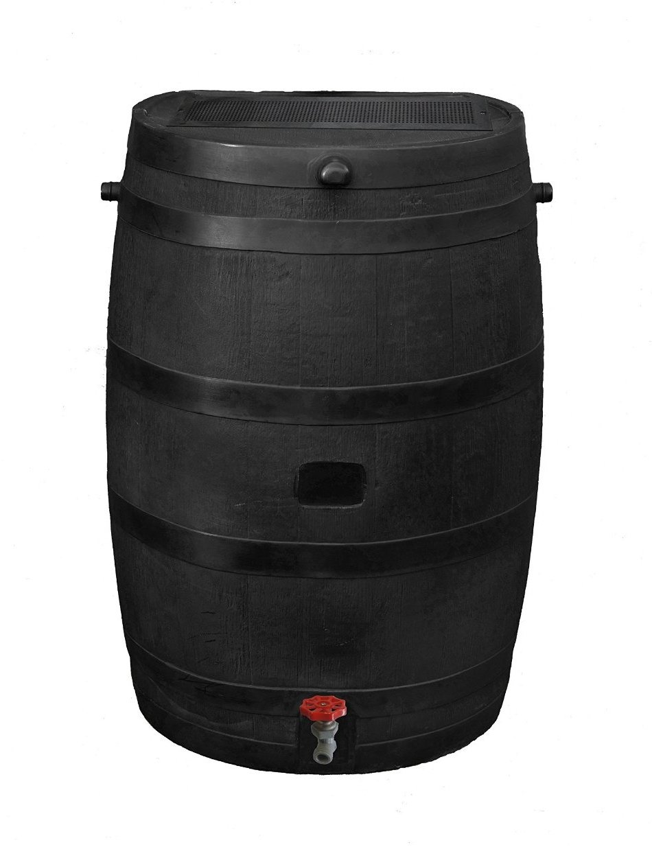 RTS Home Accents 50-Gallon ECO Rain Water Collection Barrel, Made with 100% Recycled Plastic and Plastic Spigot, Black by RTS Companies Inc