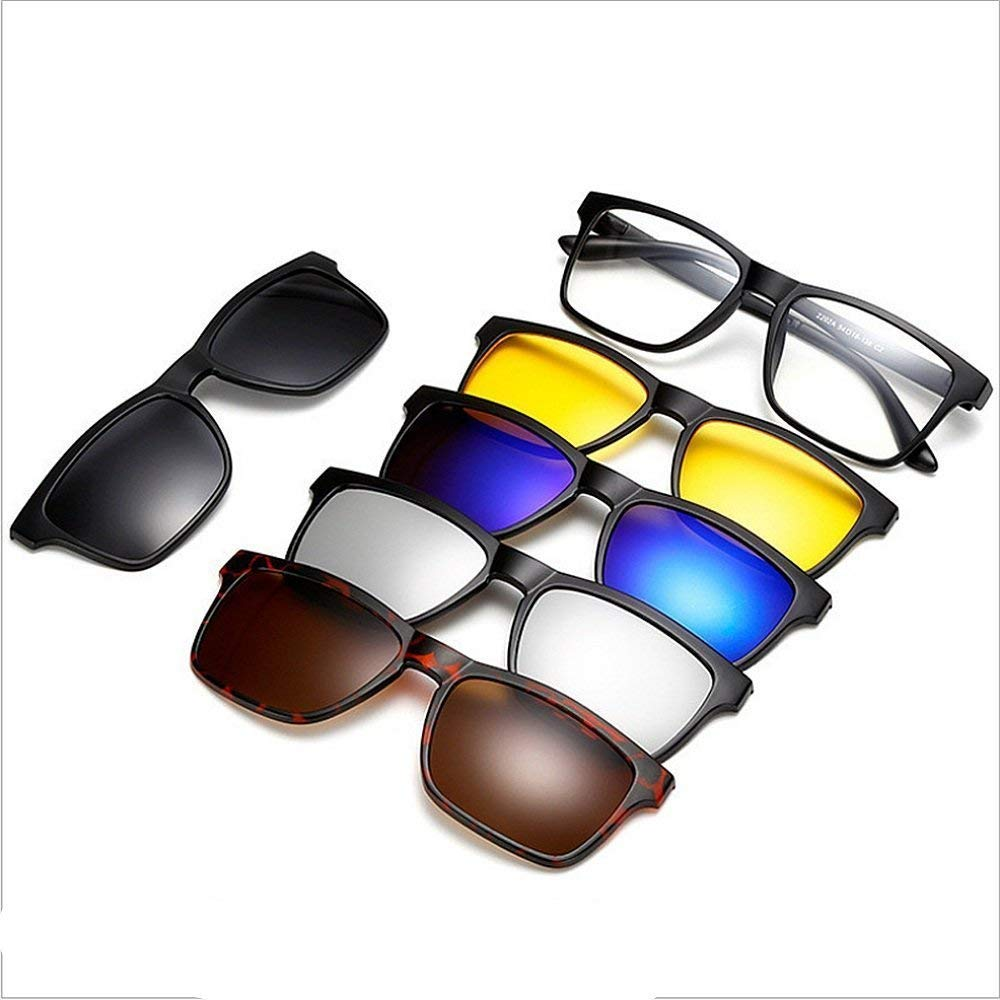 Retro Style Sunglasses with 5Pcs Interchangeable Unbreakable Lenses TR90 Frame Clip-on UV Predection Sunglasses with Magnetic for Men Women