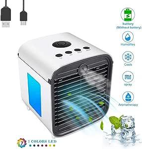 Nifogo Aire Acondicionado Móvil, 3en1 Mini Ventilador Humidificador Purificador de Aire Personal USB Climatizador Portátil [Sin Freón] para Casa/Oficina (Blanco ...