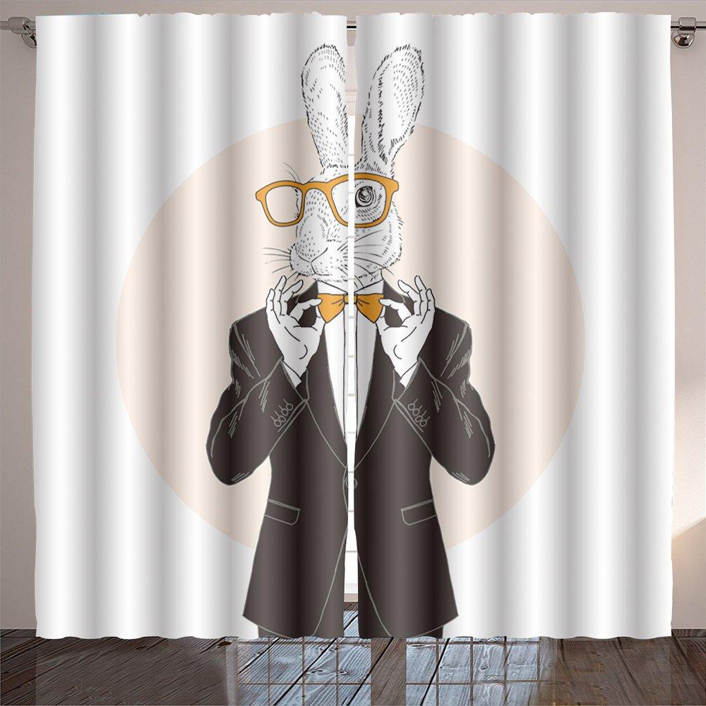 Jiahonghome Lush Decor bunny dressed up in tuxedo adjusting his tie bow anthropomorphic illustration fashion animals