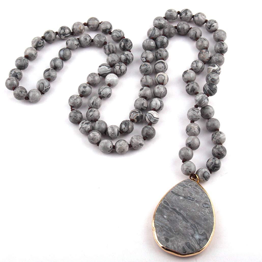 Bergort Fashion Bohemian Jewelry Natural Stone Knotted Stone Pendant Necklaces Women