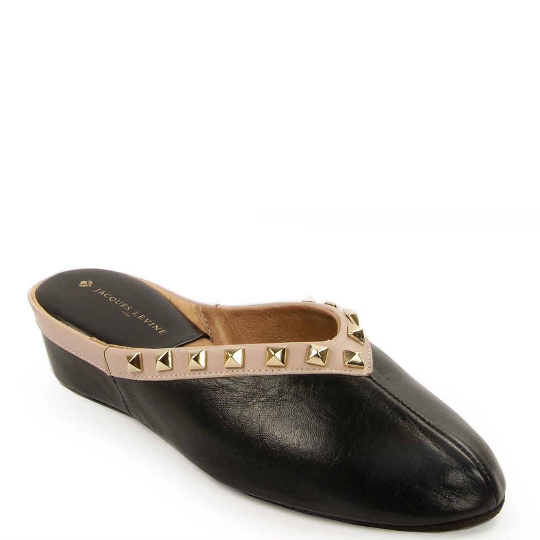 Jacques Levine - Pyramid Stud - Leather Wedge Women's Slipper, 9.5 (B) Black Nude