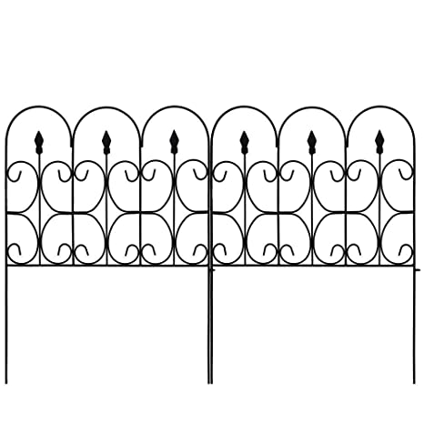 Amagabeli Decorative Garden Fence 32in X 10ft Outdoor Coated Metal Rustproof Landscape Wrought Iron Wire Border Folding Patio Fences Flower Bed