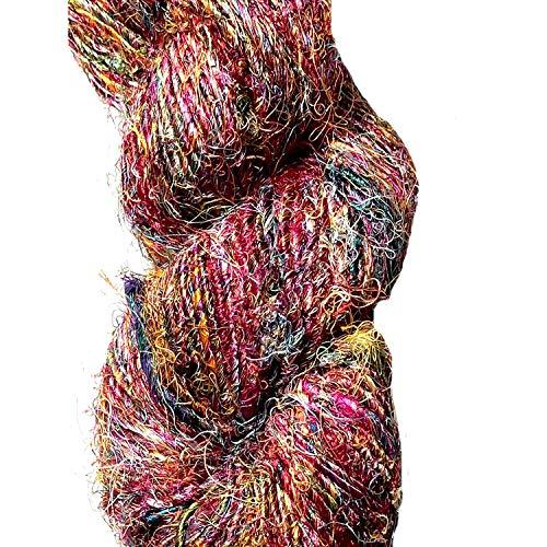Silk Sari Recycled Yarn (Yarn Place 1 LARGE Skein Himalaya Recycled Sari Silk Yarn Multi Color Sampler 200 grams)