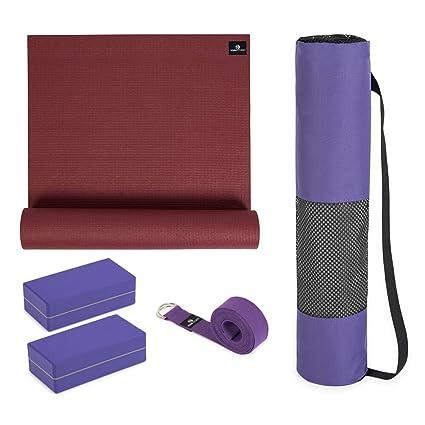 Kit de iniciación de Yoga: Esterilla de Yoga (6 mm, Bolsa de ...