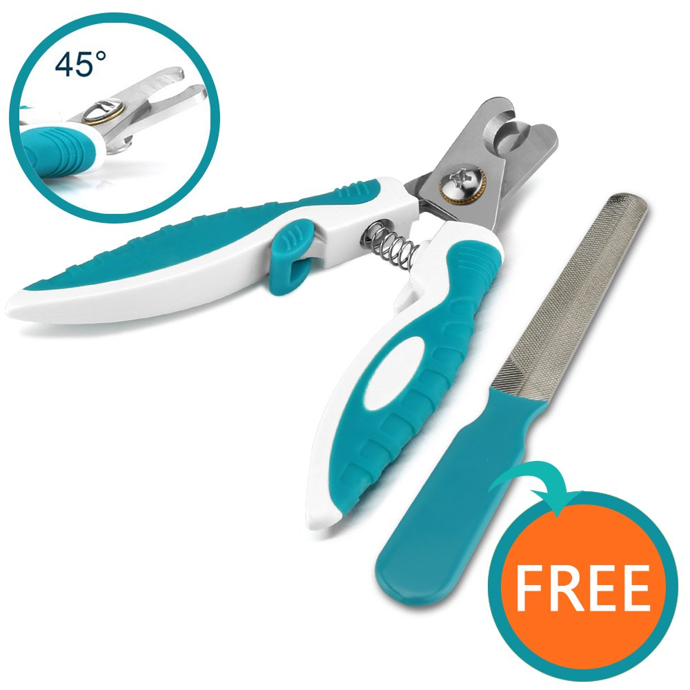 ONSON Dog Nail Clippers - Pet Nail Trimmer with Quick Safety Guard for Small Medium Large Heavy Duty - Painless Grooming for Large Breed Dogs - Free Nail File Included (Dog Nail Clipper - Blue)