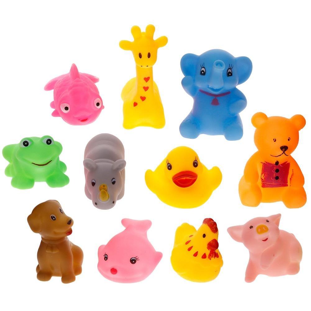 Calistouk Lot de 12animaux en caoutchouc de bain de bébé doux son flotteur enfants Sqeeze Jouets