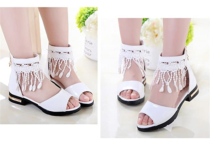 ALUK- Kinderschuhe - Mädchen Single Schuhe Prinzessin Schuhe Korean Fisch Mund Schuhe Nette Performance Schuhe ( Farbe : Weiß , größe : 29 )