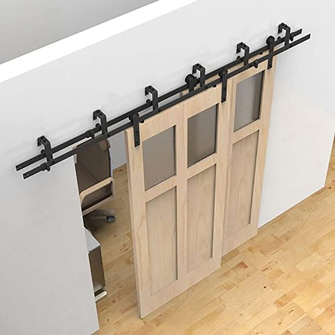 150-488cm Modern Sliding Barn Wood Door Hardware T-Shape Black Rollers Track Kit