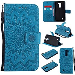 K10 Case, K10 Cover, Dfly-US Premium Soft PU Leather Embossed Mandala Design with Kickstand Function Card Slot Holder Slim Flip Protective Wallet Cover for LG K10, Blue
