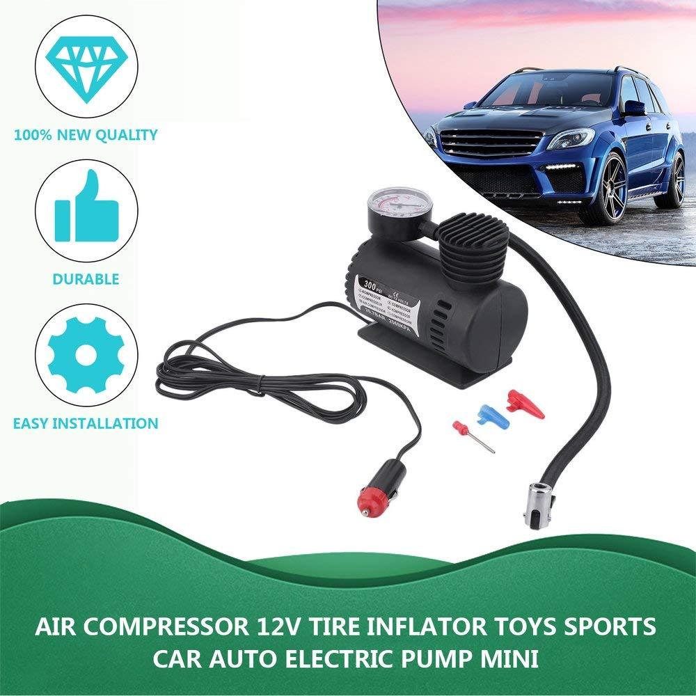 Air Compressor 12V Tire Inflator Toys Sports Car Auto Electric Pump Mini Black Tools & Equipment