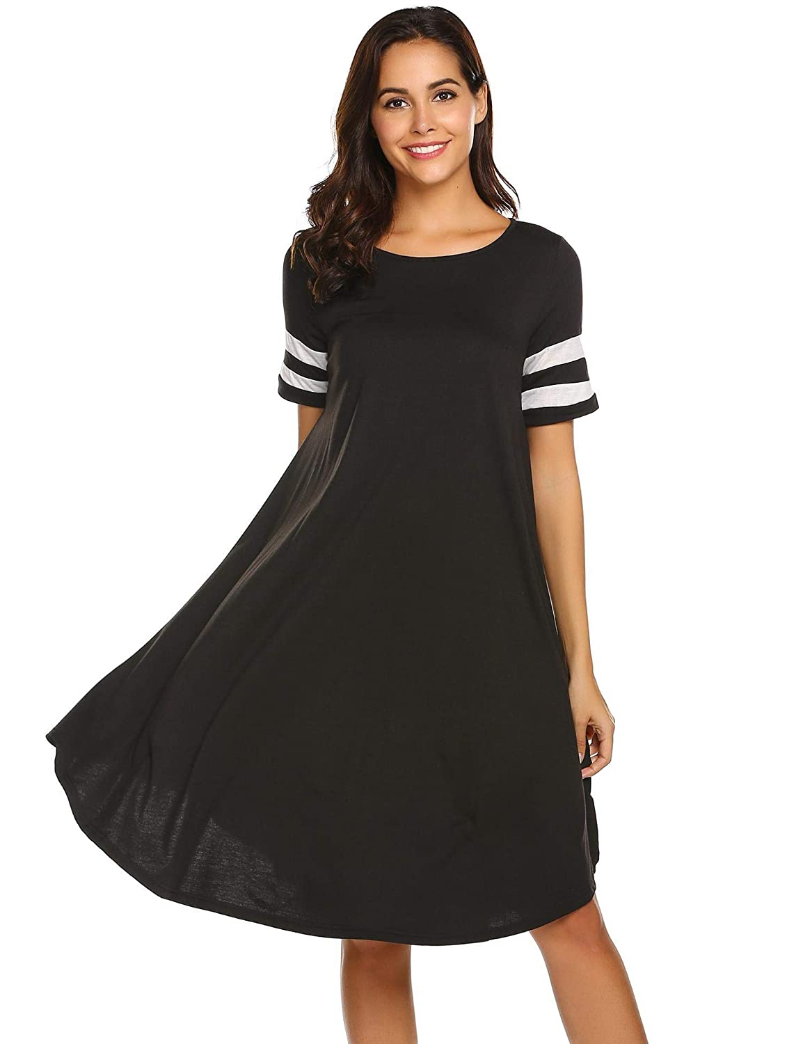 Black1 Wildtrest Women's Casual Plain Pocket Loose TShirt Dress